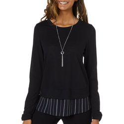A. Byer Juniors Necklace & Striped Trim Sweater