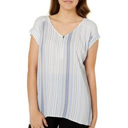 A. Byer Juniors Striped Zip Neck High-Low Top