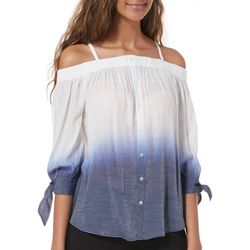 A. Byer Juniors Dip Dyed Cold Shoulder Tie Sleeve Top