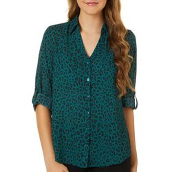 A. Byer Juniors Leopard Print Button Down Top