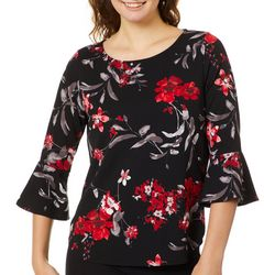 A. Byer Juniors Floral Print Bell Sleeve Top