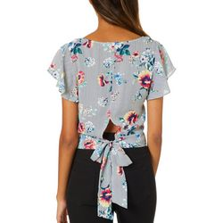 A. Byer Juniors Cropped Floral Striped Tie Back Top