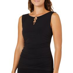 A. Byer Juniors Solid Ruched Three Ring Neck Top