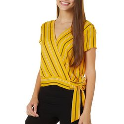 Juniors Striped Surplice Faux Wrap Top