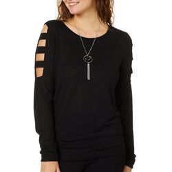 A. Byer Juniors Necklace & Caged Sleeve Top
