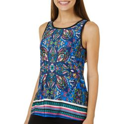 A. Byer Juniors Paisley Print Scoop Neck Sleeveless Top