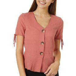 A. Byer Juniors Solid Tie Sleeve Button Down Top