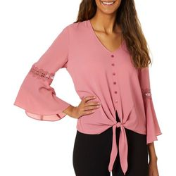 A. Byer Juniors Bell Sleeve Tie Front Woven Top