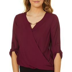 A. Byer Juniors Solid Wrap Front Hardware Neck Top