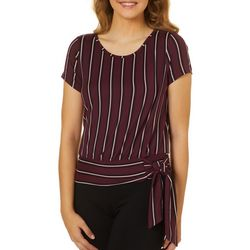 A. Byer Juniors Vertical Striped Keyhole Back Side Tie Top