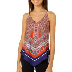 A. Byer Juniors Mixed Geometric Scarf Print V-Neck Tank Top