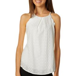 A. Byer Juniors Solid Eyelet Scalloped Tank Top