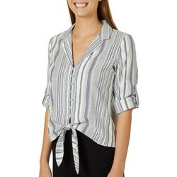 A. Byer Juniors Mixed Stripes Button Down Tie Front Top