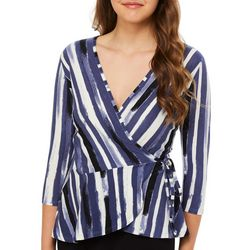 A. Byer Juniors Stripe Print Faux Wrap Top