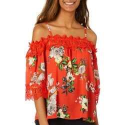 A. Byer Juniors Floral Print Crochet Trim Cold Shoulder Top