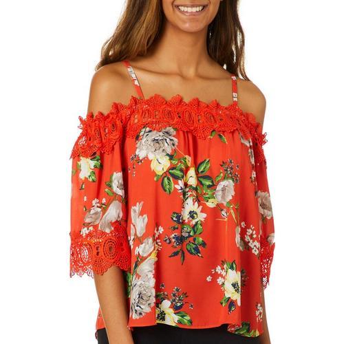 f5f8caf5eb07c9 A. Byer Juniors Floral Print Crochet Trim Cold Shoulder Top | Bealls Florida