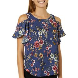 A. Byer Juniors Necklace & Floral Print Cold Shoulder Top