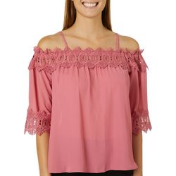 A. Byer Juniors Crochet Trim Cold Shoulder Top