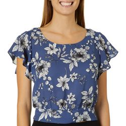 A. Byer Juniors Cropped Floral Tie Back Top