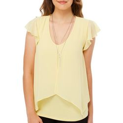 A. Byer Juniors Solid Necklace & Ruffled Flutter Sleeve Top