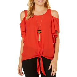 A. Byer Juniors Necklace & Ruffled Cold Shoulder Top