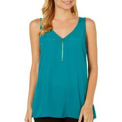 A. Byer Juniors Zipper V-Neck Tank Top
