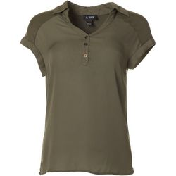 A. Byer Juniors Solid Button Placket Short Sleeve Top