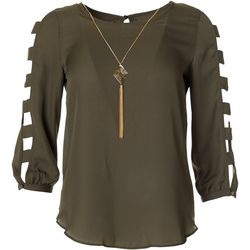 A. Byer Juniors Long Sleeve Solid Cage Sleeve Top