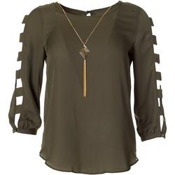 Juniors Long Sleeve Solid Cage Sleeve Top