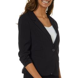 A. Byer Juniors Solid Ruched Sleeve Blazer