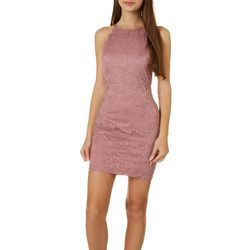 Juniors Scalloped Trim Lace Sheath Dress