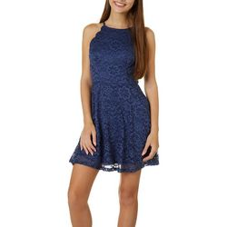 Juniors Lace Sleeveless Skater Dress