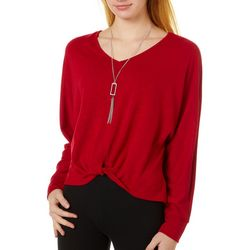 A. Byer Juniors Solid V-Neck Long Sleeve Top