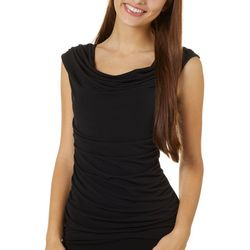 A. Byer Juniors Solid Bead Detail Sleeveless Top