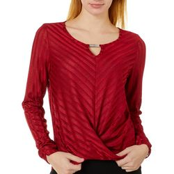 A. Byer Juniors Subtle Stripe Keyhole Long Sleeve Top