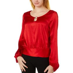 A. Byer Juniors Solid Ring Detail Long Sleeve Top