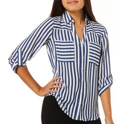 A. Byer Juniors Striped Button Down Top