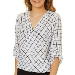 Juniors Grid Print Wrap Front V-Neck Top