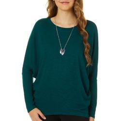 Juniors Necklace & Dolman Sleeve Sweater