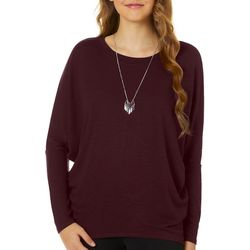 A. Byer Juniors Necklace & Dolman Sleeve Sweater