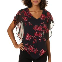 A. Byer Juniors Floral Short Sleeve Poncho Top