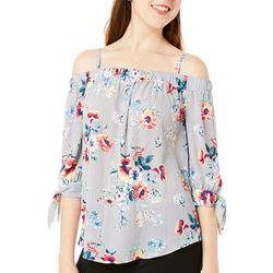 A. Byer Juniors Cold Shoulder Striped Floral Top