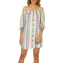 A. Byer Juniors Striped Button Down Off The Shoulder Dress