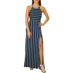 A. Byer Juniors Vertical Stripe Halter Sleeveless Maxi Dress