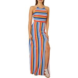 A. Byer Juniors Striped Halter Sleeveless Maxi Dress