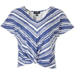 Juniors Striped Twist Front V-Neck Top