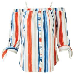 Juniors Striped Off The Shoulder Tie Sleeve Top