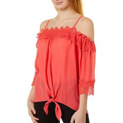 Juniors Lace Trim Tie Front Top