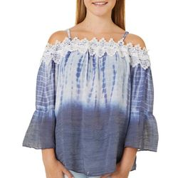 Juniors Bell Sleeve Tie Dye Woven Top