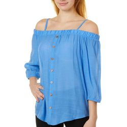 A. Byer Juniors Off The Shoulder 3/4 Sleeve Top